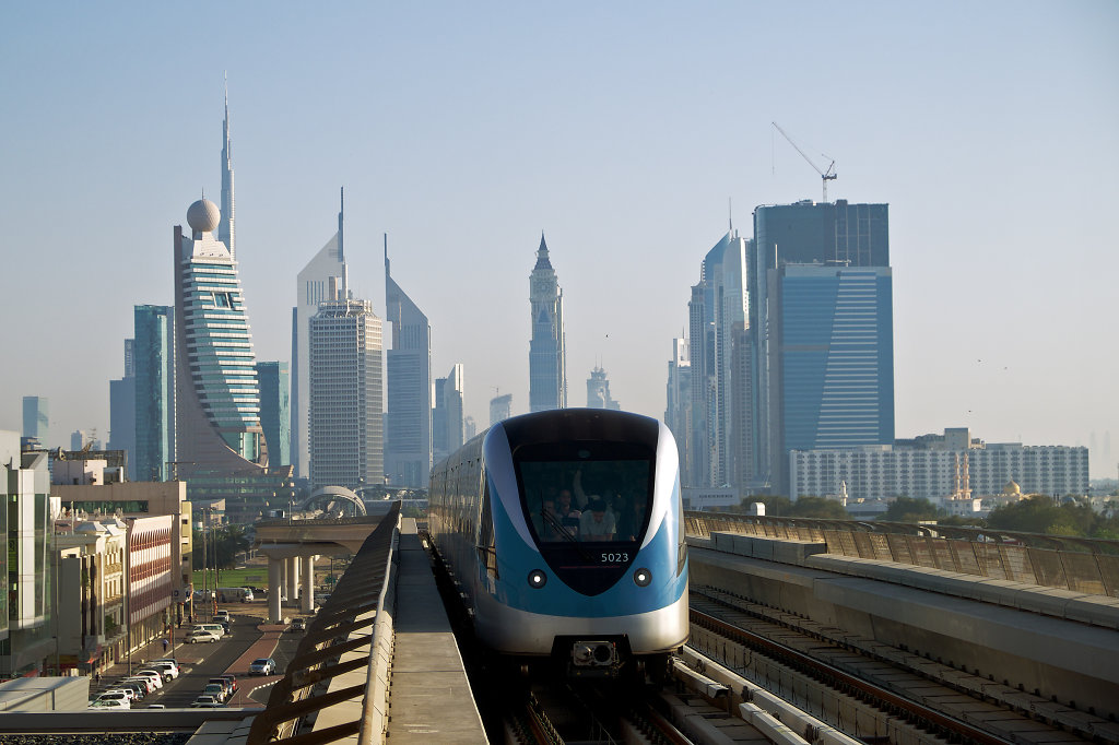 Dubai Metro with cityscape
