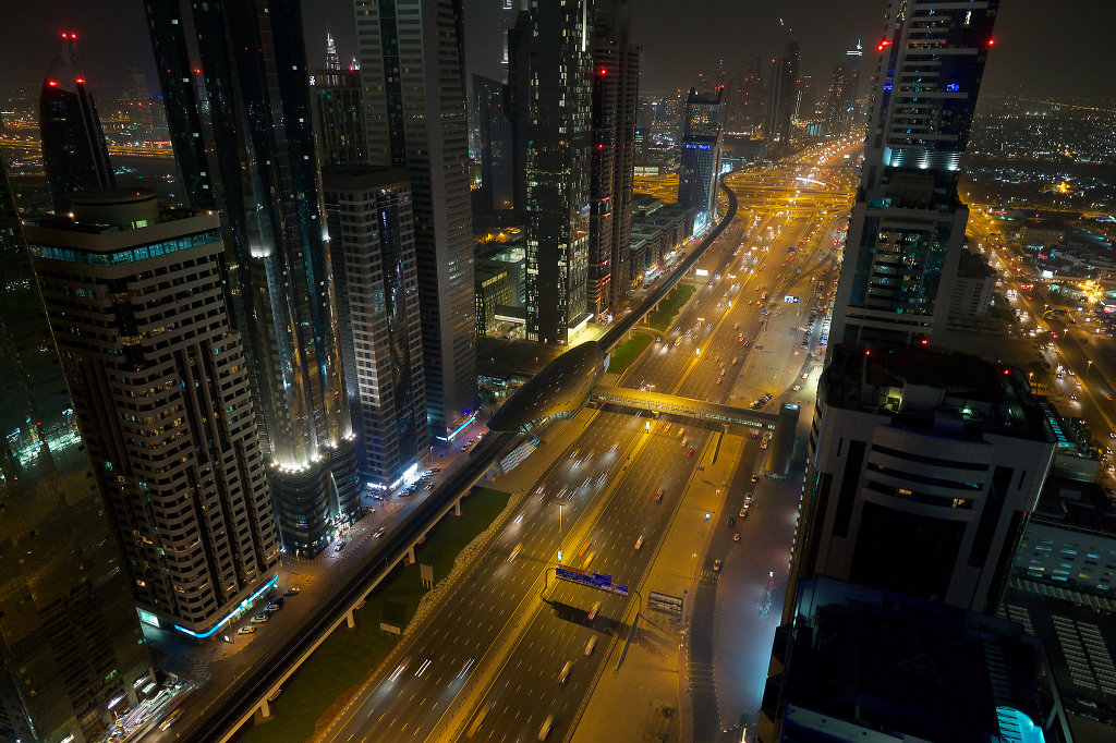 Sheikh Zayed Road at night