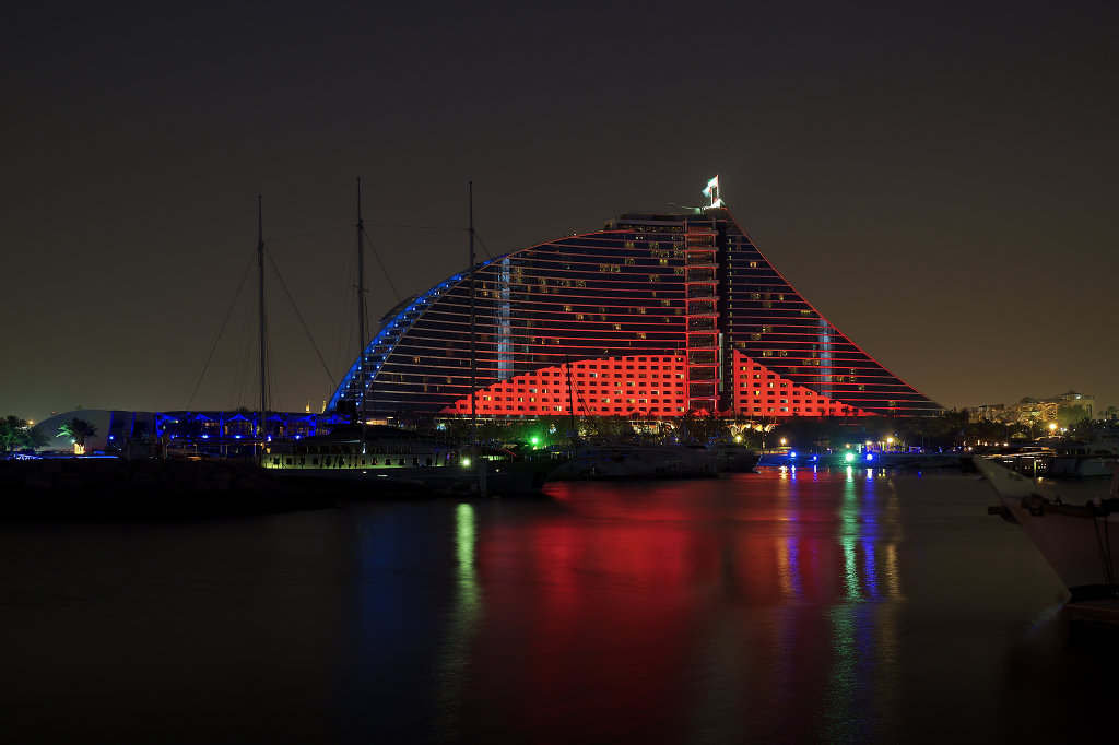 Jumeirah Beach Hotel at night