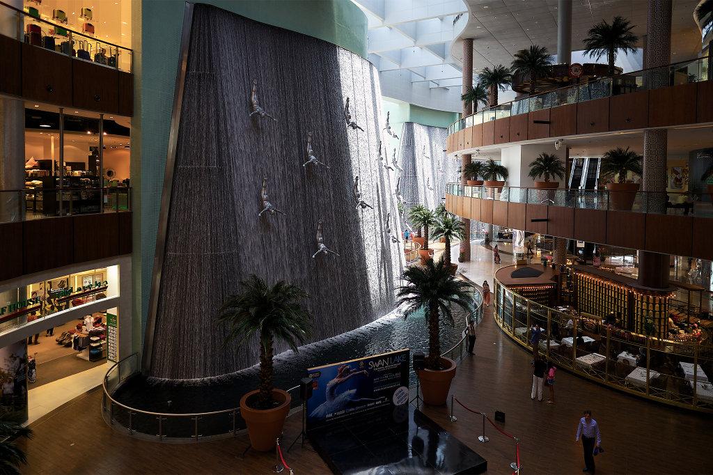 Waterfall inside of the Dubai Mall