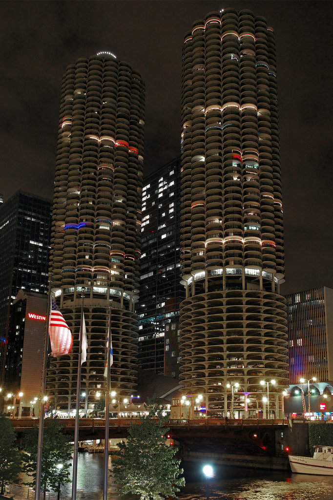 Marina City at night