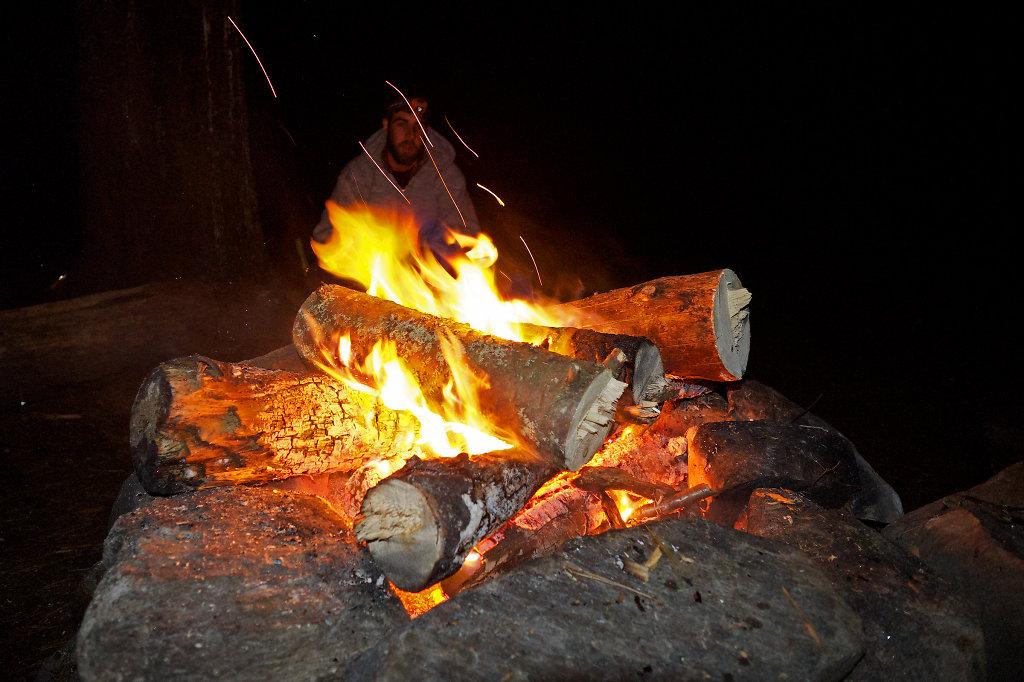 Camp fire at Tom Thomson Lake