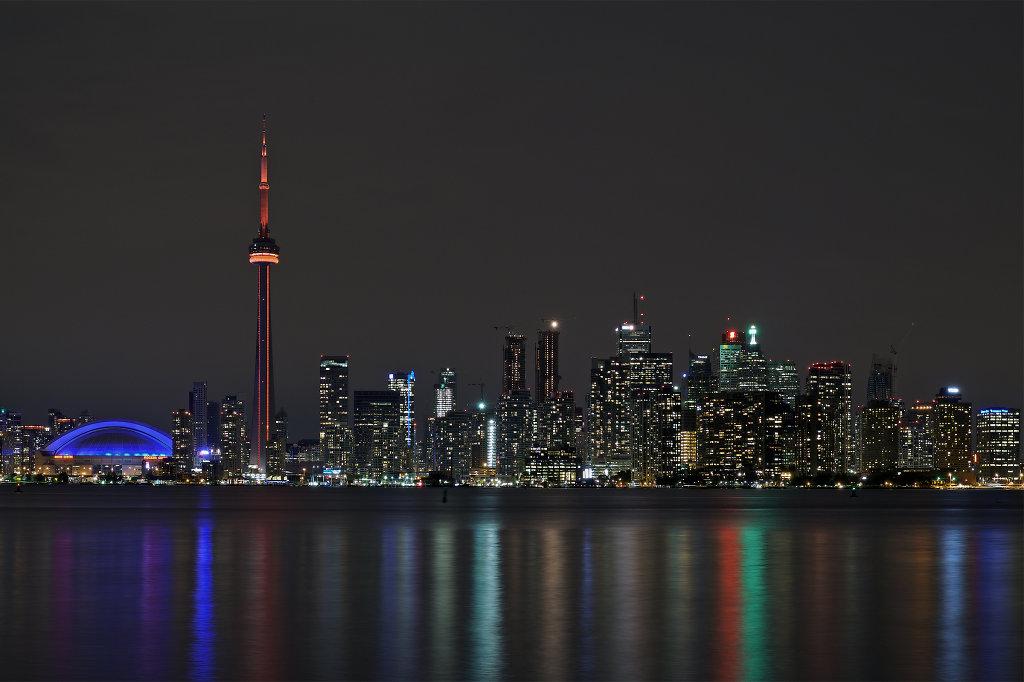 Toronto harbourfront at night