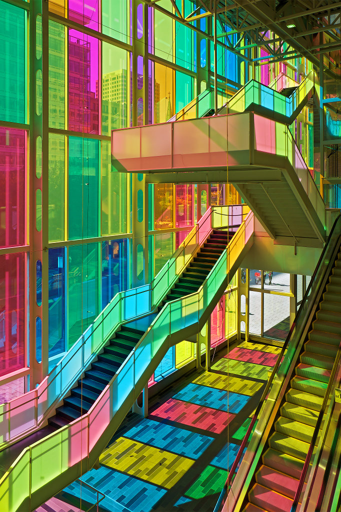 Rainbow windows of Palais des Congrès in Montréal (View #1)