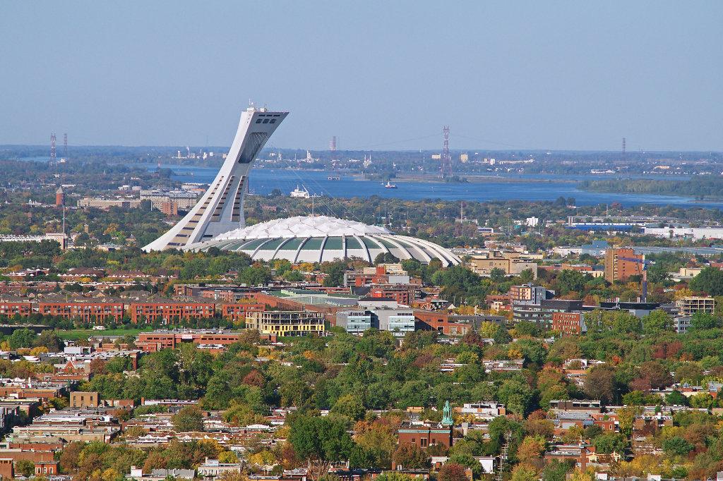 Aerial view of the Stade Olympique de Montréal