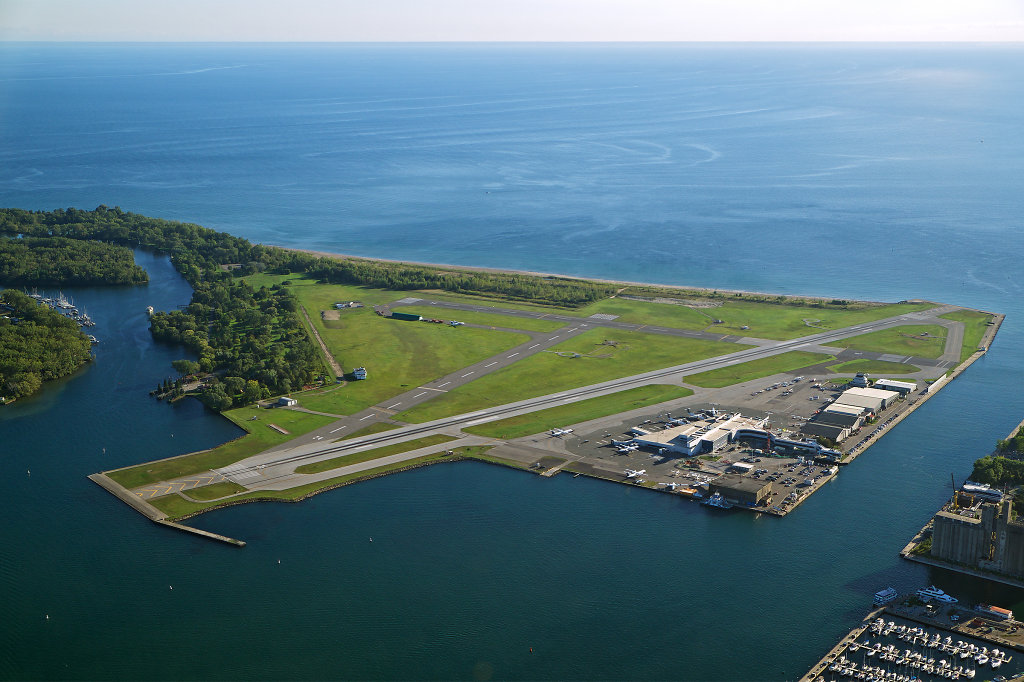 Aerial view of Billy Bishop Toronto City Airport